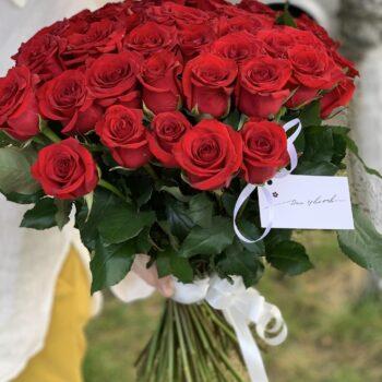 Букет из 51 красных Украинских роз 60см