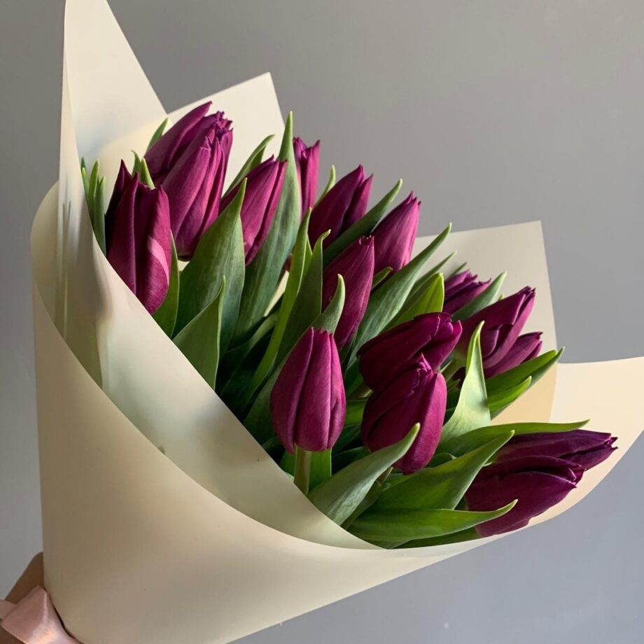 Букет из 19 фиолетовых тюльпанов
