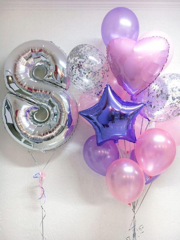 Шарики с одной цыфрой и фонтаном шаров
