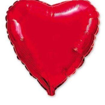 Сердце красное металлик